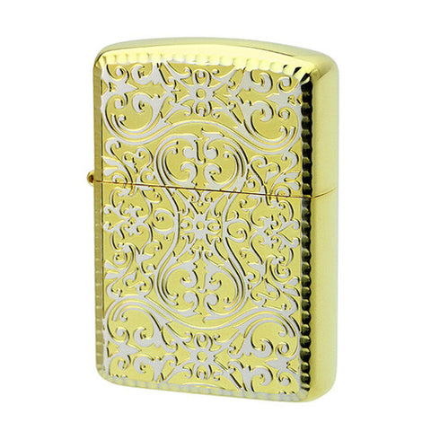 Armor Zippo Lighter Both sides Design Arabesque Gold Silver 2FR ASG