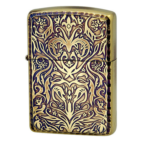 Armor Zippo Lighter Antique Floral Design A Brass Oxidized