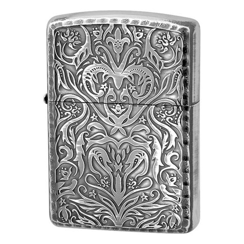 Armor Zippo Lighter Antique Floral Design B Silver Oxidized