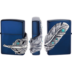 Zippo Lighter Big Feather Eagle Metal Blue Ion BL