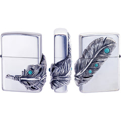 Zippo Lighter Big Feather Eagle Metal Silver Smoke SV