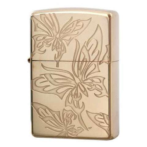 Zippo Lighter Butterfly Rose Pink Plating Both Sides Design Japan