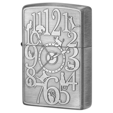 Zippo Lighter Cat Clock Both sides Design SV