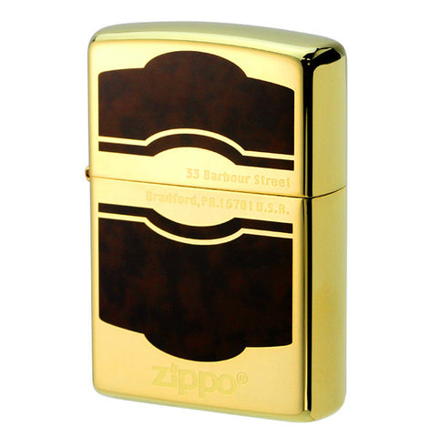 Zippo Lighter Classic Design 2B Gold x Brown CD2(B) GD/BW