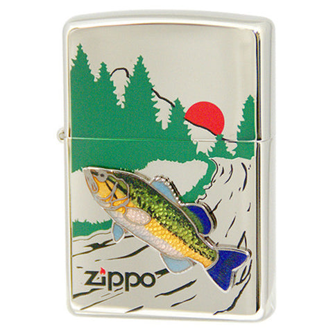 Zippo Lighter Freshwater fish Cloisonne Metal Black Bass Fishing