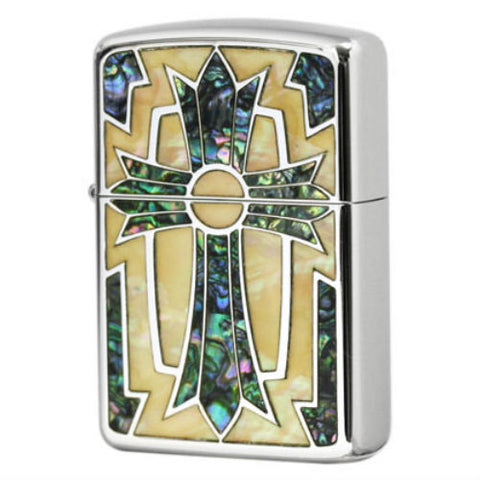 Armor Zippo Lighter Natural White Shell inlay Cross Arabesque Both Sides Desing Japan