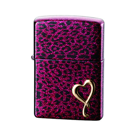 Zippo Lighter Heart of Panther Pink Glitter lame processing