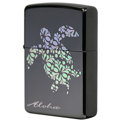 Zippo Lighter Hawaian Sea turtle HONU Hologram Flower Black Nickel