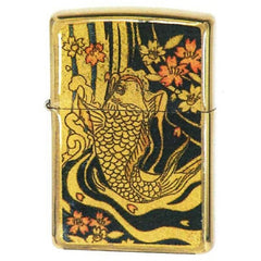 Zippo Lighter Japanese Art Ukiyo-e Design Carp Gold Leaf Epoxy