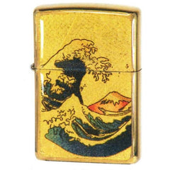 Zippo Lighter Japanese Art Ukiyo-e Design Great Wave Mount Fuji Gold Leaf Epoxy