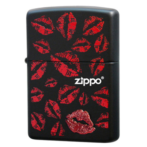 Zippo Lighter Hickey Red Sexy Lipstick Mark Japan Design Black