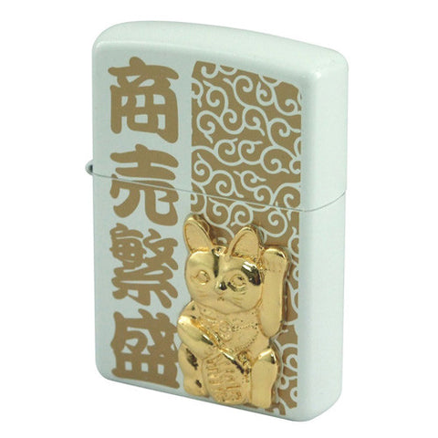 Zippo Lighter Japanese Good Luck Charm Cat Maneki Neko Omamori PW