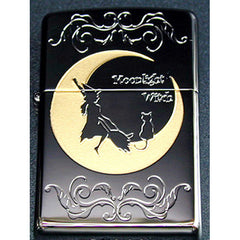 Zippo Lighter Crescent Moon Witch & Cat Moonlight Lovers Series