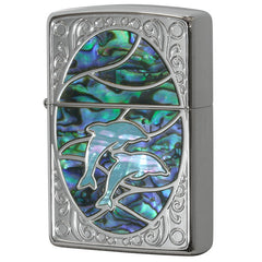 Zippo Lighter Natural Shell Inlay Dolphin GR BL