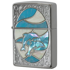 Zippo Lighter Natural Shell Inlay Dolphin WH BL