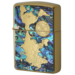 Armor Japan Zippo Lighter World Map G Shell Inlay Both Sides Design