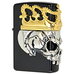 Zippo Lighter 3D Skull Crown Beaty Beast Skull Ling Gold Silver Metal