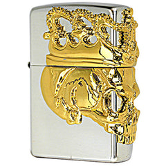 Zippo Lighter 3D Skull Crown Beaty Beast Skull King Gold Metal
