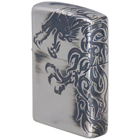 Zippo Lighter Japanese Stream Dragon Antique Silver 3 sides etching