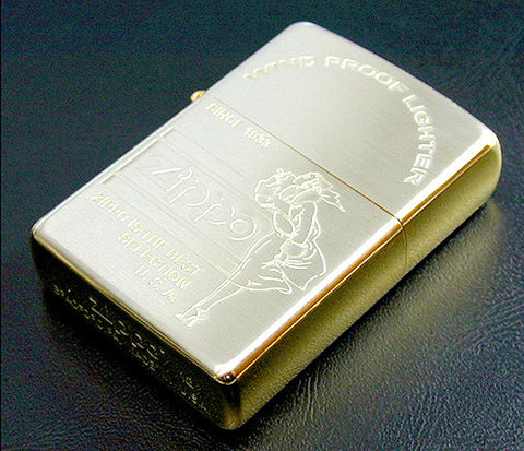 Zippo Lighter Windy Girl Gold & Silver Plating Finish Etching SD-6SGS