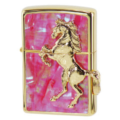 Zippo Lighter Gold Horse Winning Winnie Star Shell Pinctada maxima Inlay Pink