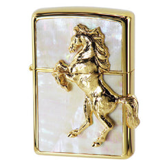 Zippo Lighter Gold Horse Winning Winnie Star Shell Pinctada maxima Inlay White