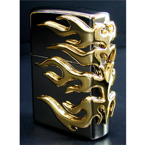 Zippo Lighter 3D Flame Gold Metal 3 Sides Design 150 Black Ice