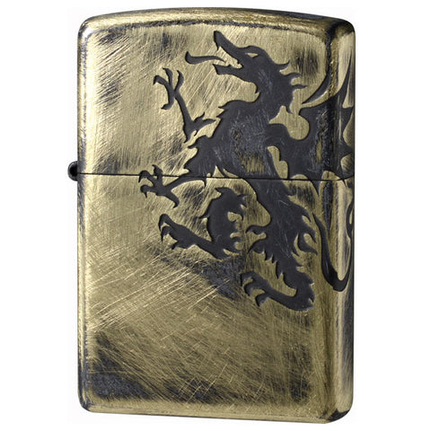 Zippo Lighter Antique Crest Dragon Used Finish 2 sides Design GB