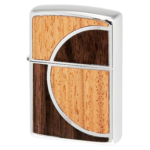 Zippo Lighter Double Wood Inlay Art Déco Design Nickel Palladium Finish SV