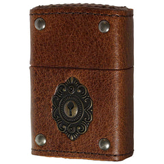 Zippo Lighter Genuine Leather Wrapped Keyhole Metal BN 2-50a