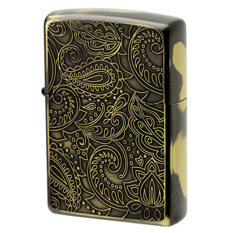 Zippo Lighter Tapestry Floral PAISLEY Design Brass Smoke Finish