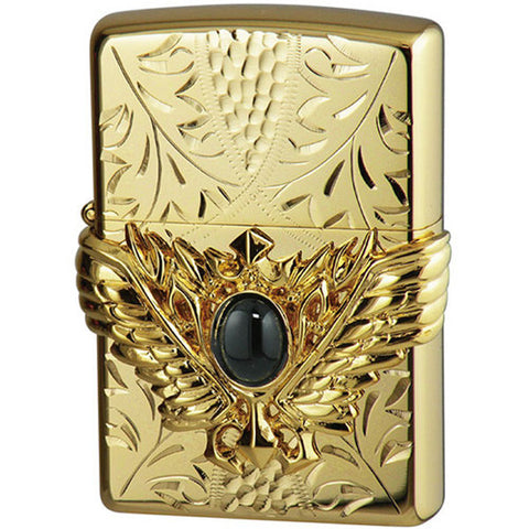 Zippo Lighter 3D Wing Metal Hand-carved Sculpture Onyx Gold