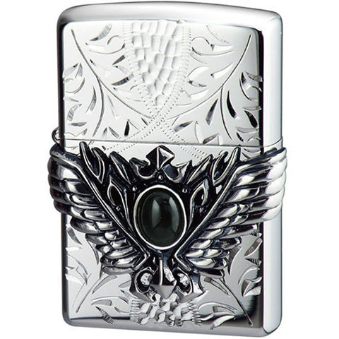 Zippo Lighter 3D Wing Metal Hand-carved Sculpture Onyx Silver