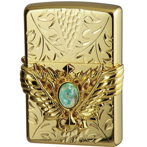 Zippo Lighter 3D Wing Metal Hand-carved Sculpture Turquoise Gold