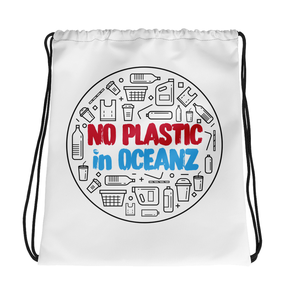 No Plastic in Oceanz Drawstring Bag
