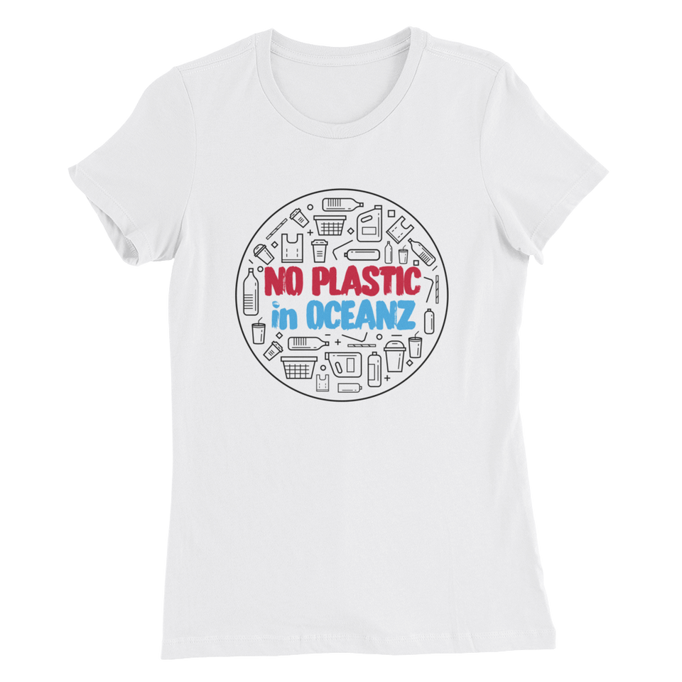 No Plastic in Oceanz Women's Slim Fit T-Shirt - White