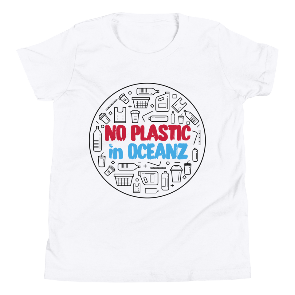 No Plastic in Oceanz Youth T-Shirt - White