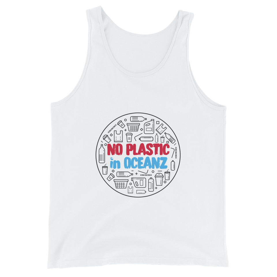No Plastic in Oceanz Unisex Tank Top - White