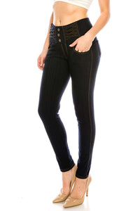 Black Jeans Knit Stretch Pants with Sherpa Lining