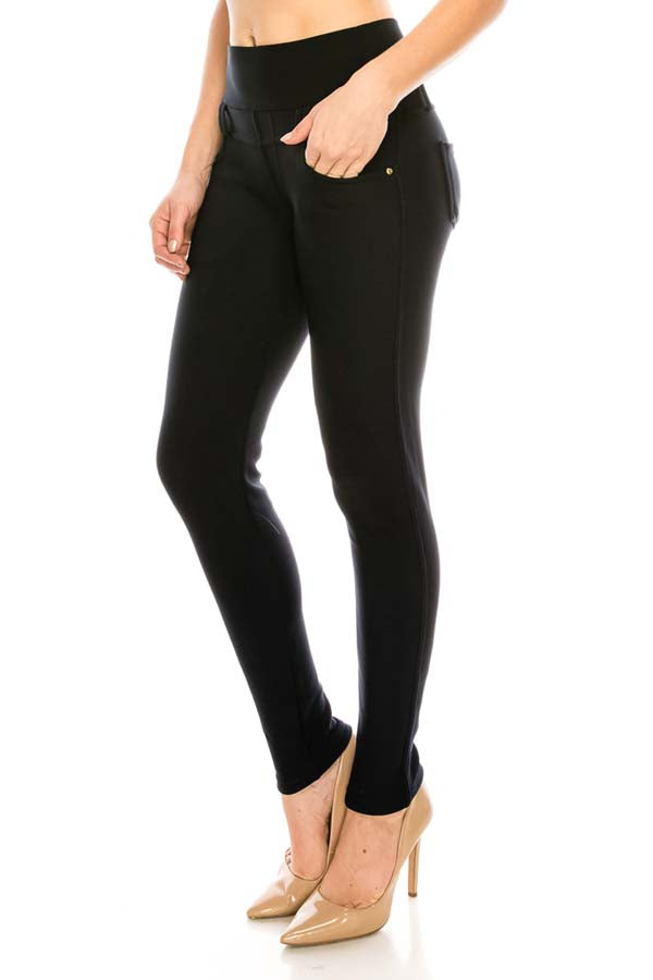 Black on Black Knit Stretch Pants with Sherpa Lining