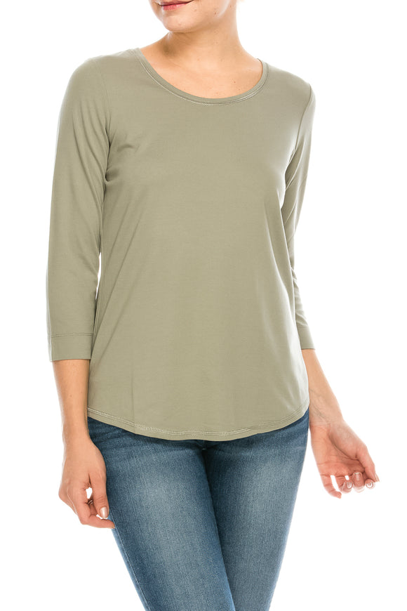 3/4 Sleeve Round Neck Top Plus Size-$6.5