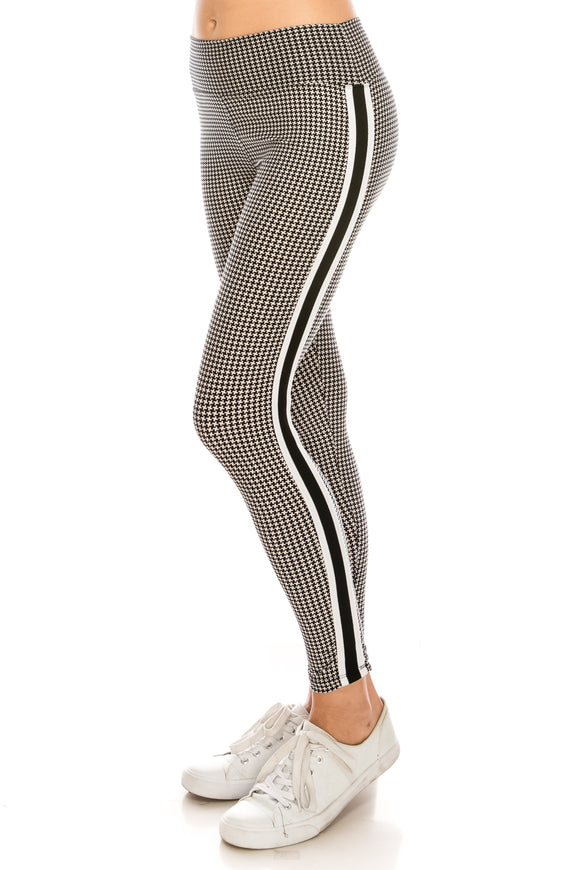 Houndstooth Legging with Stripe Band - $5