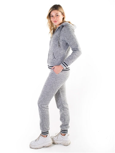 Women's Melange, Faux Sherpa Lined Hoodie and Jogger Set - $14.00