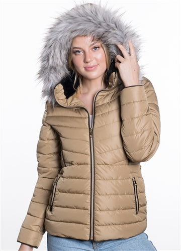 WOMEN'S PUFFER JACKET WITH DETACHABLE FAUX FUR HOOD - $21