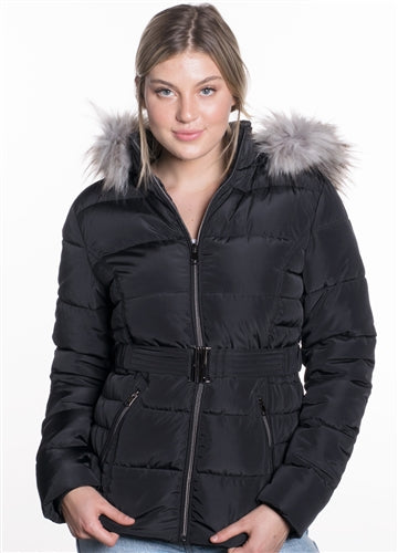 WOMEN'S BELTED PUFFER JACKET - $21
