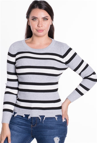 RT032ST-WOMEN'S RIBBED STRIPED SWEATER TOP - $7.50