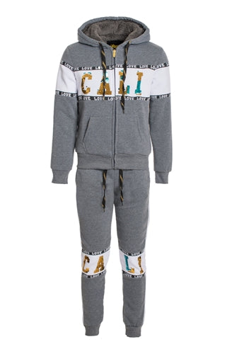 Faux Sherpa Lined Hoodie & Jogger Set With