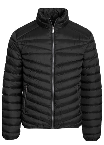 MEN'S QUILTED FAUX FUR LINED PACKABLE PUFFER JACKET