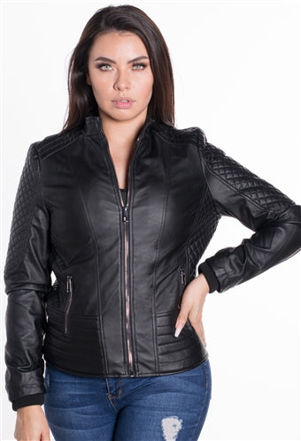 WOMEN'S VEGAN LEATHER MOTO JACKET - $19