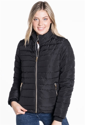 WOMEN'S PUFFER JACKET WITH HIGH SHINE ZIPPER - $18